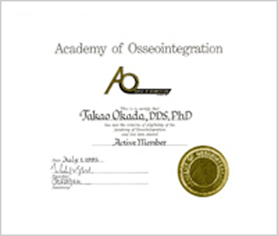 Selected as active member of the Academy of Osseointegration, 1995.